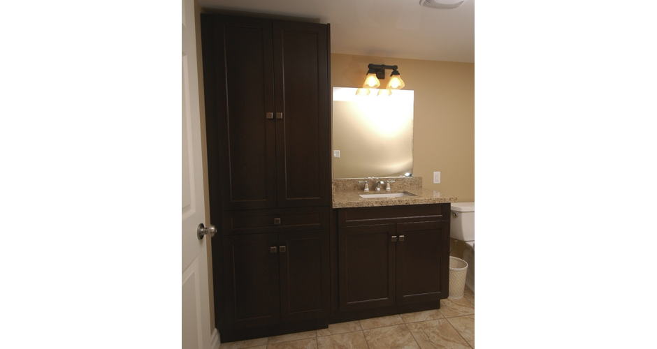 Dark Bathroom Cabinet with Storage