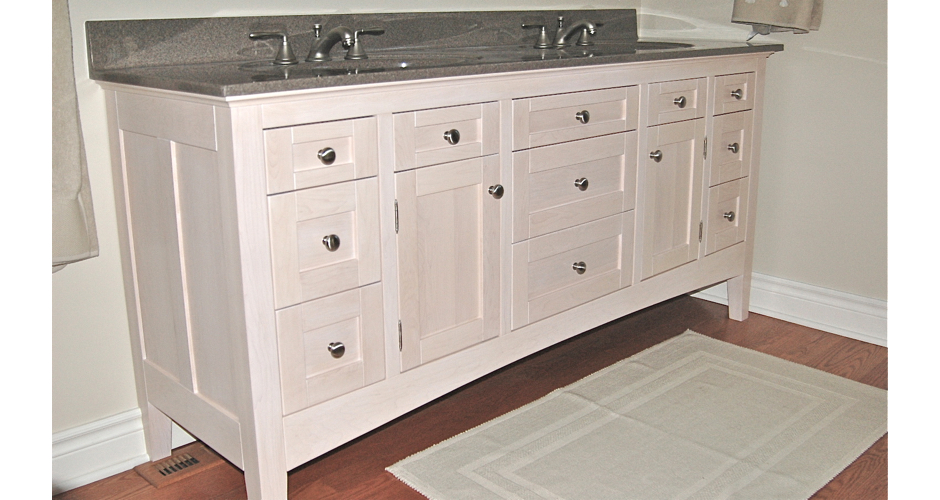 White Bathroom Cabinet with Two SInks