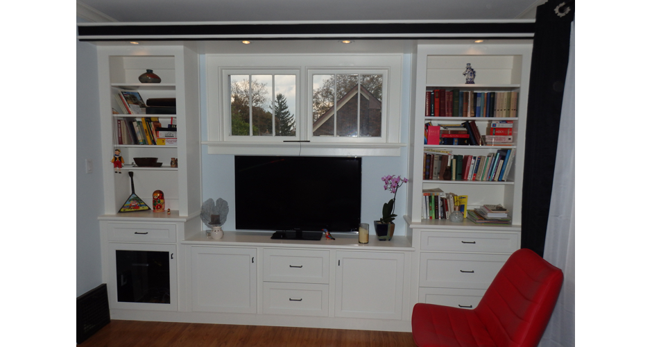 White Family Room Built-in Cabinet