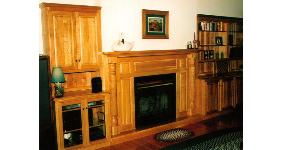 Fireplace with Built-in Cabinets