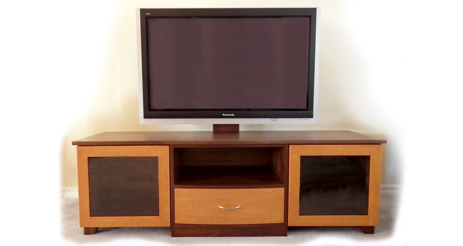 Modern Entertainment Unit with Rounded Front, Multiple Woods