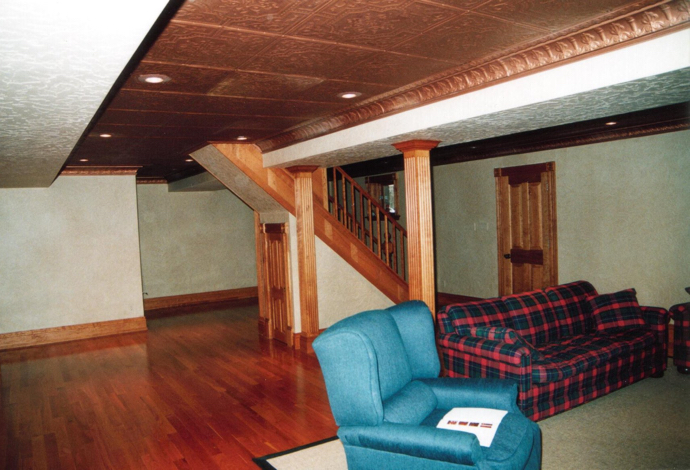 Basement with copper ceiling.